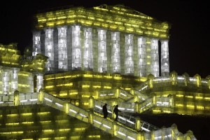 A general view shows an ice sculpture of the Parthenon at the Ice and Snow World in Harbin